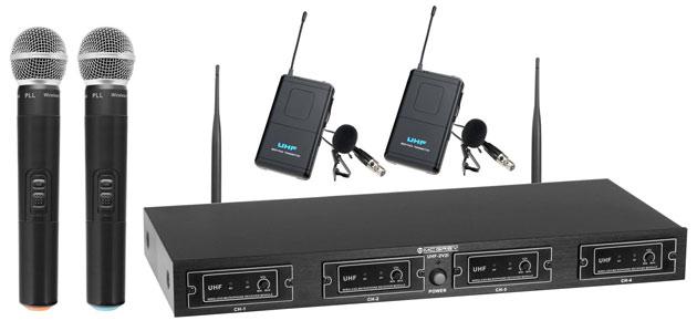 McGrey UHF-2V2I Quad Funkmikrofonset mit 2x Handmikrofon und 2x Lavaliermikrofon.