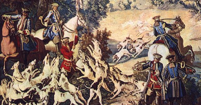 """Das Gemälde """"Tod eines Hirsches"""" zeigt eine Jagdszene aus dem 18. Jahrhundert, in der die Parforcehornbläser gut zu erkennen sind. Quelle: wikipedia.org"""