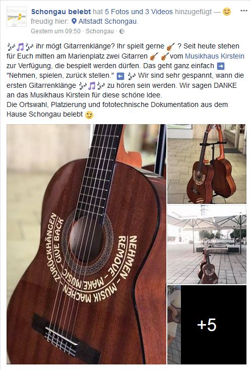 Gitarrenaktion bei Facebook.