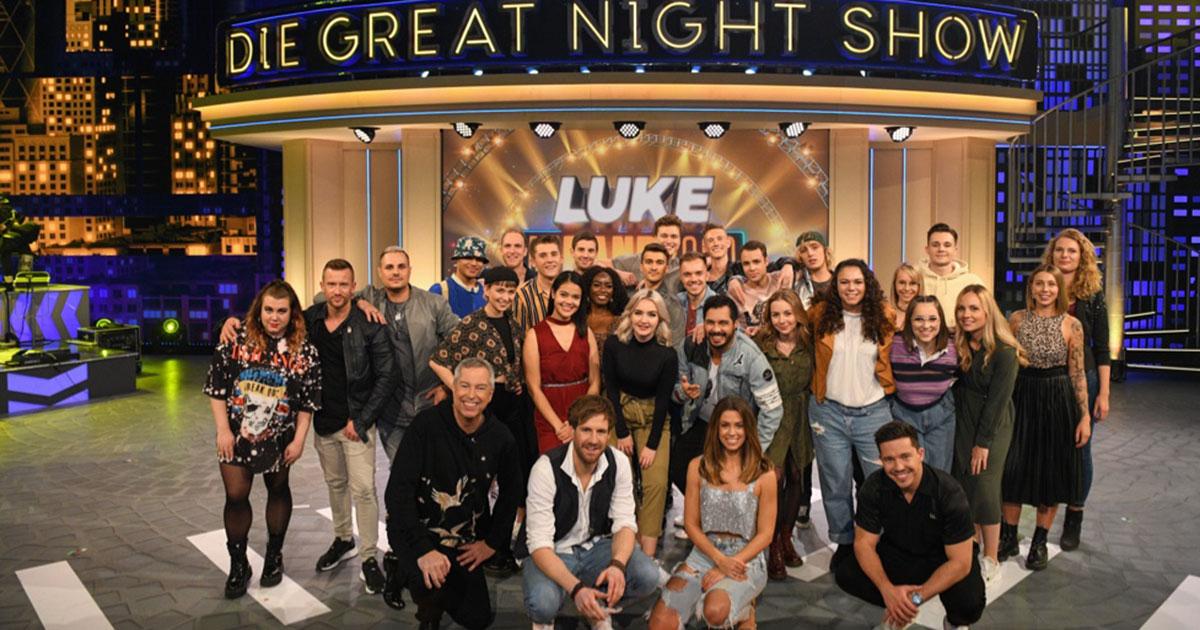 Die Kandidaten und Jury der Greatnightshow Luke Die Band 2020