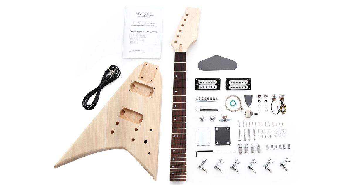 Neben der Bratpfanne die Basis fürs Gitarrenprojekt: unser Rocktile E-Gitarren-Bausatz RR-Style