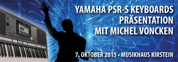 Der Entertainer Michel Voncken präsentiert im Musikhaus Kirstein die brandaktuellen Yamaha PSR-S Keyboardmodelle.
