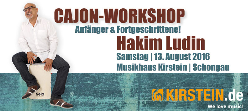 Hakim Ludin bietet am 13. August 2016 im Musikhaus Kirstein Cajon-Workshops an.