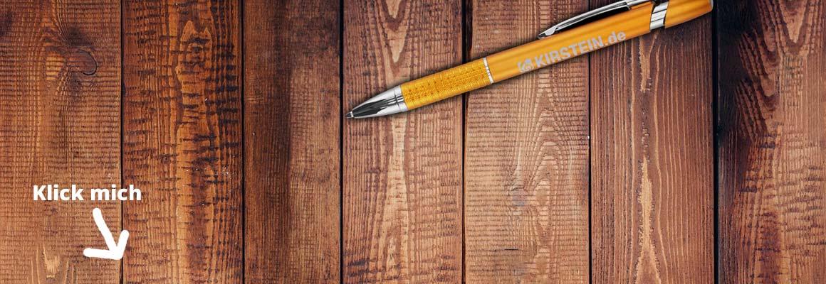 Banner mit Kugelschreiber