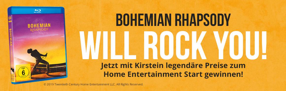 Kirstein und Bohemian Rhapsody will rock you! Jetzt tolle Preise zum Home Entertainment Start gewinnen!