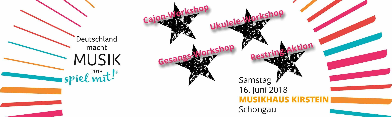 Deutschland macht Musik 2018. Workshops am bundesweiten Aktionstag im Musikhaus Kirstein.