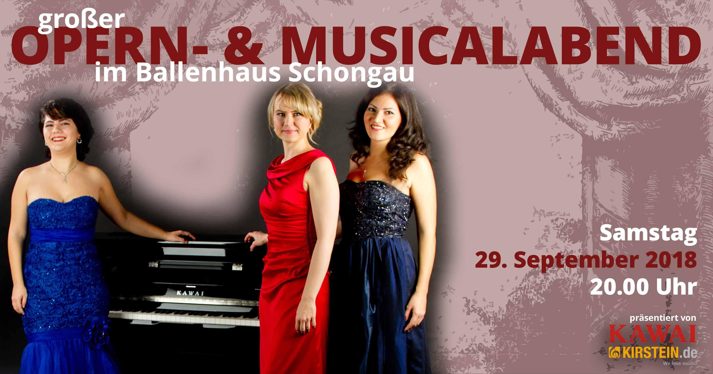 Am 29. September 2018 präsentieren KAWAI und das Musikhaus Kirstein im Ballenhaus Schongau einen wunderbaren Opern- und Musicalabend.