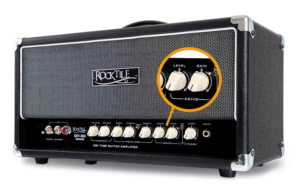 Der Rocktile GT-30 Angus Vollröhren-Gitarrenverstärker hat einen zuschaltbaren Drive-Kanal.