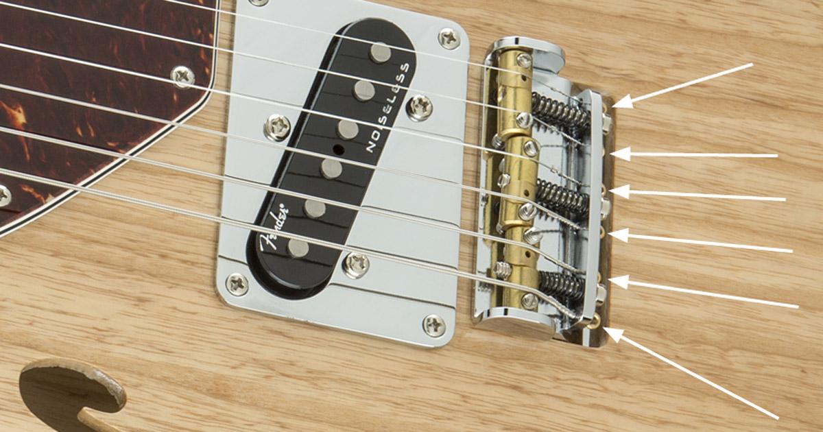 Fender American Elite Tele mit Saitenbefestigung an der Bridge.