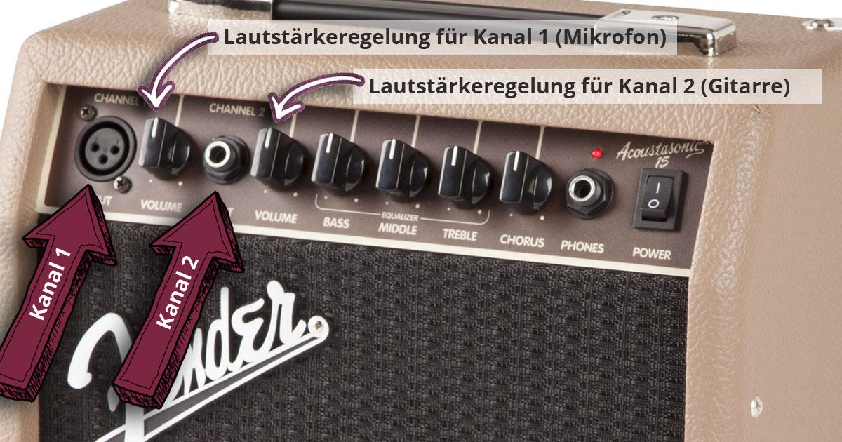 Der Fender Acoustasonic 15 ist ein kompakter Verstärker, der einen Kanal für Mikrofon sowie einen zweiten Kanal für die Akustikgitarre bietet.