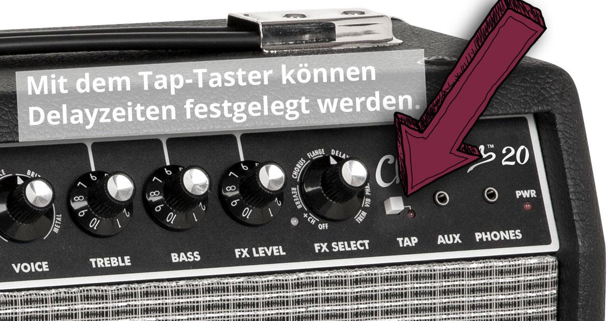 Mit dem Tap-Taster können Delayzeiten festgelegt werden.