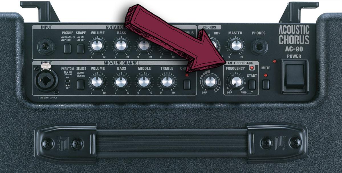 Der Stereo-Akustikverstärker Roland AC-90 hat eine Anti-Feedback-Funktion.