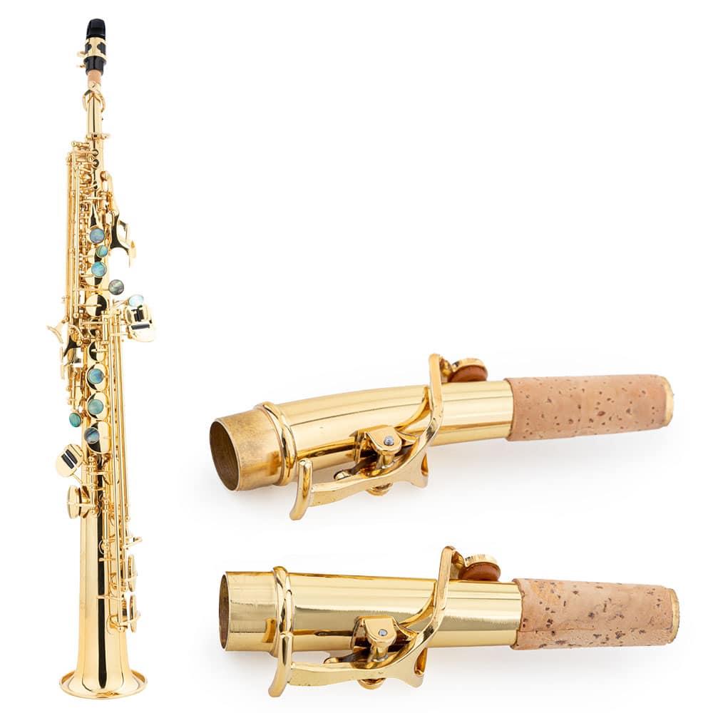 Sopransaxophon der Marke Lechgold in gerader Bauweise mit zwei S-Bögen (gerade und leicht gebogen).