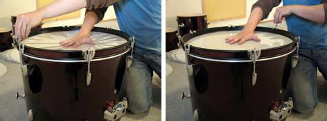 Das Schlagfell der Bass Drum wird meistens nur so weit gespannt, dass es keine Falten mehr wirft.