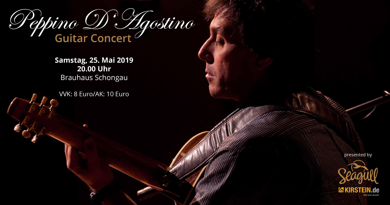 Am 25. Mai 2019 präsentieren Seagull Guitars und das Musikhaus Kirstein Peppino D'Agostino live in Schongau. Foto: Joe Tecza.