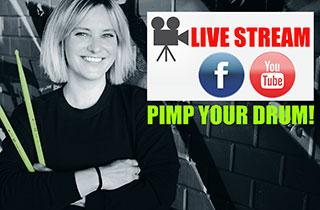 Livestream Drumworkshop Hybrid Drums mit Steffi Sachsenmeier.