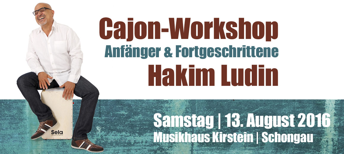 Cajon-Workshop mit Hakim Ludin am 13. August 2016 im Musikhaus Kirstein.
