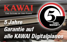 5 Jahre Garantie auf alle Kawai Digitalpianos