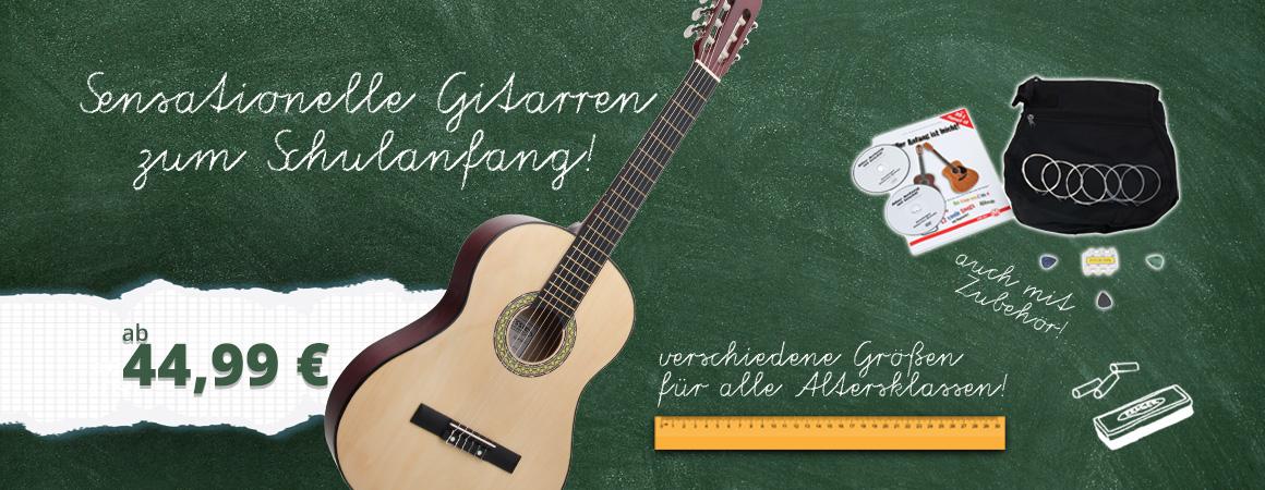 Große Auswahl an Gitarren zum Schulanfang!