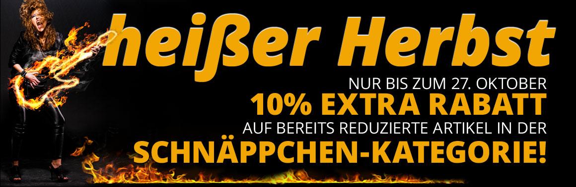 HERBST17 - 10% Extra Rabatt auf bereits reduzierte Artikel in der Schnäppchenkategorie!