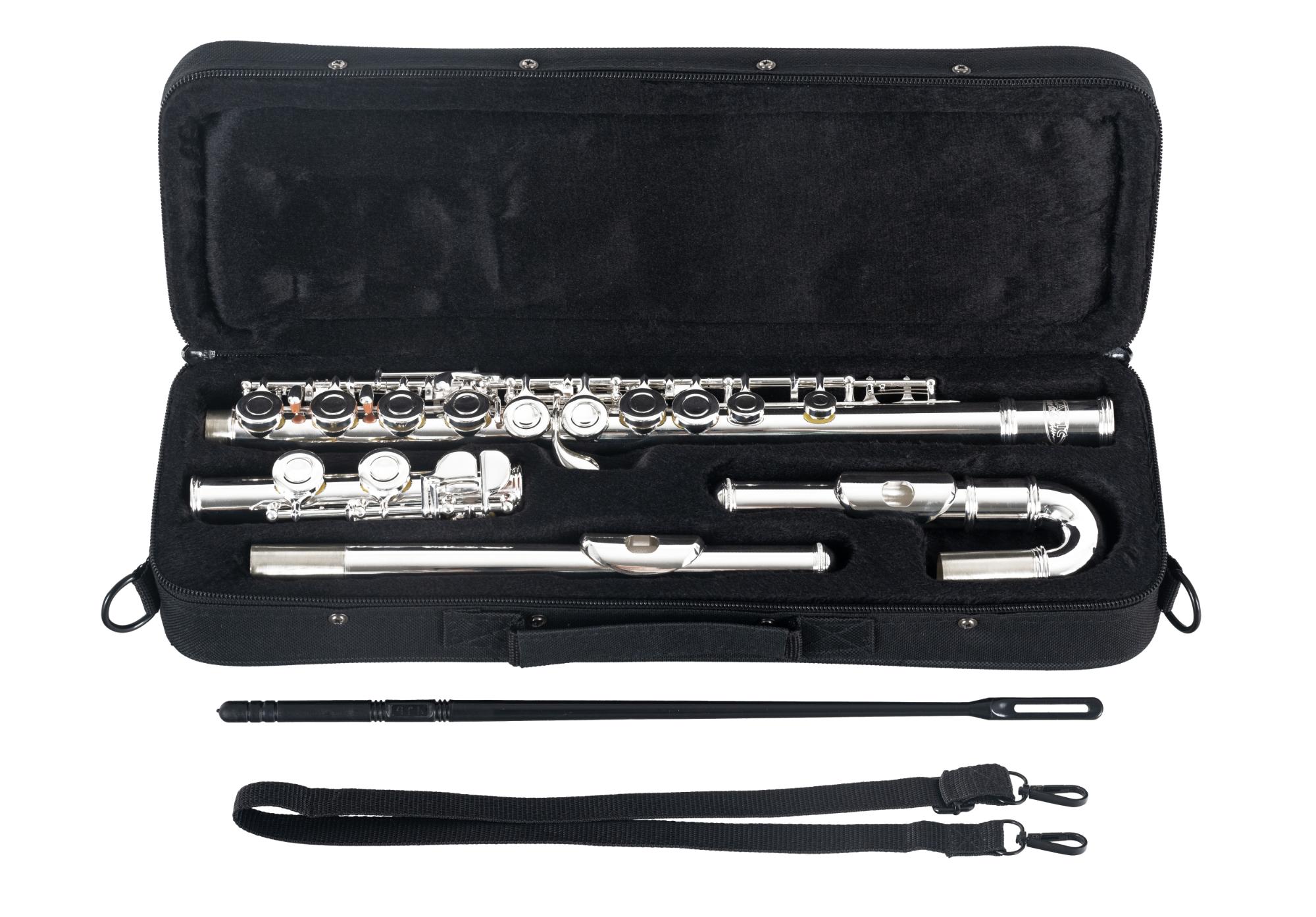Classic Cantabile FL-200 Querflöte Flöte E-Mechanik Neusilber Wischerstab Etui