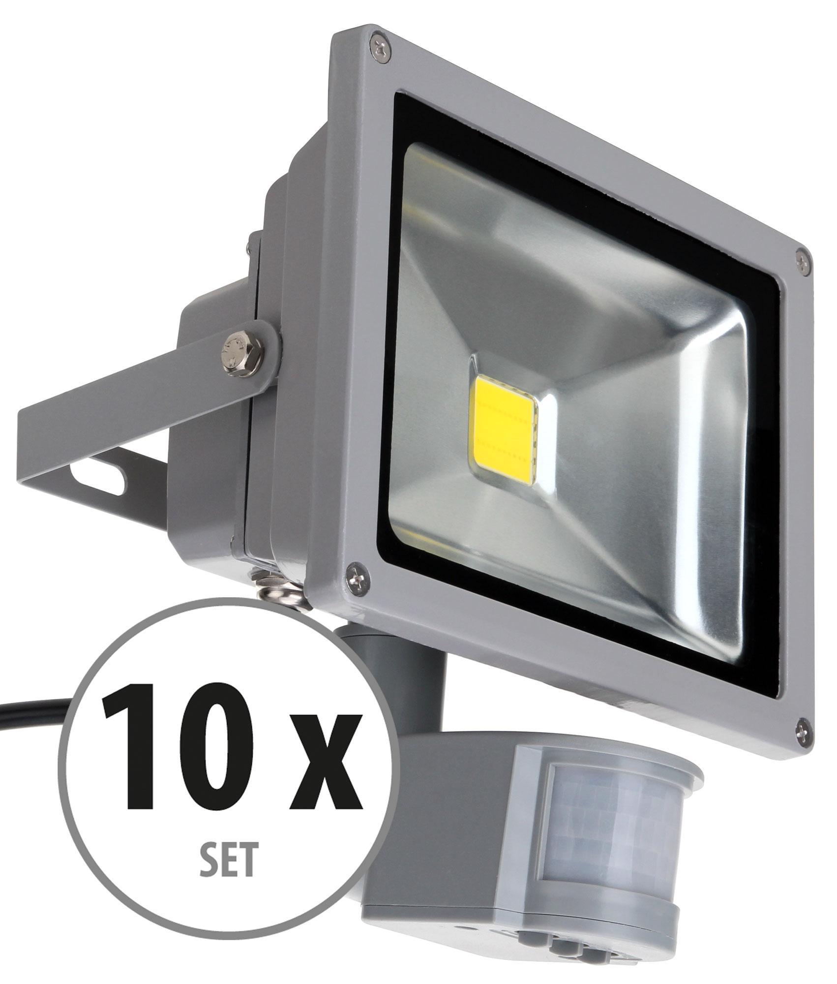 Showlite Fl 2020b Led Floodlight Ip65 20w 2200 Lumens Motion Flood Light Lamp High Power Black Case With 1m Cable Wire Detector 10 Piece Set
