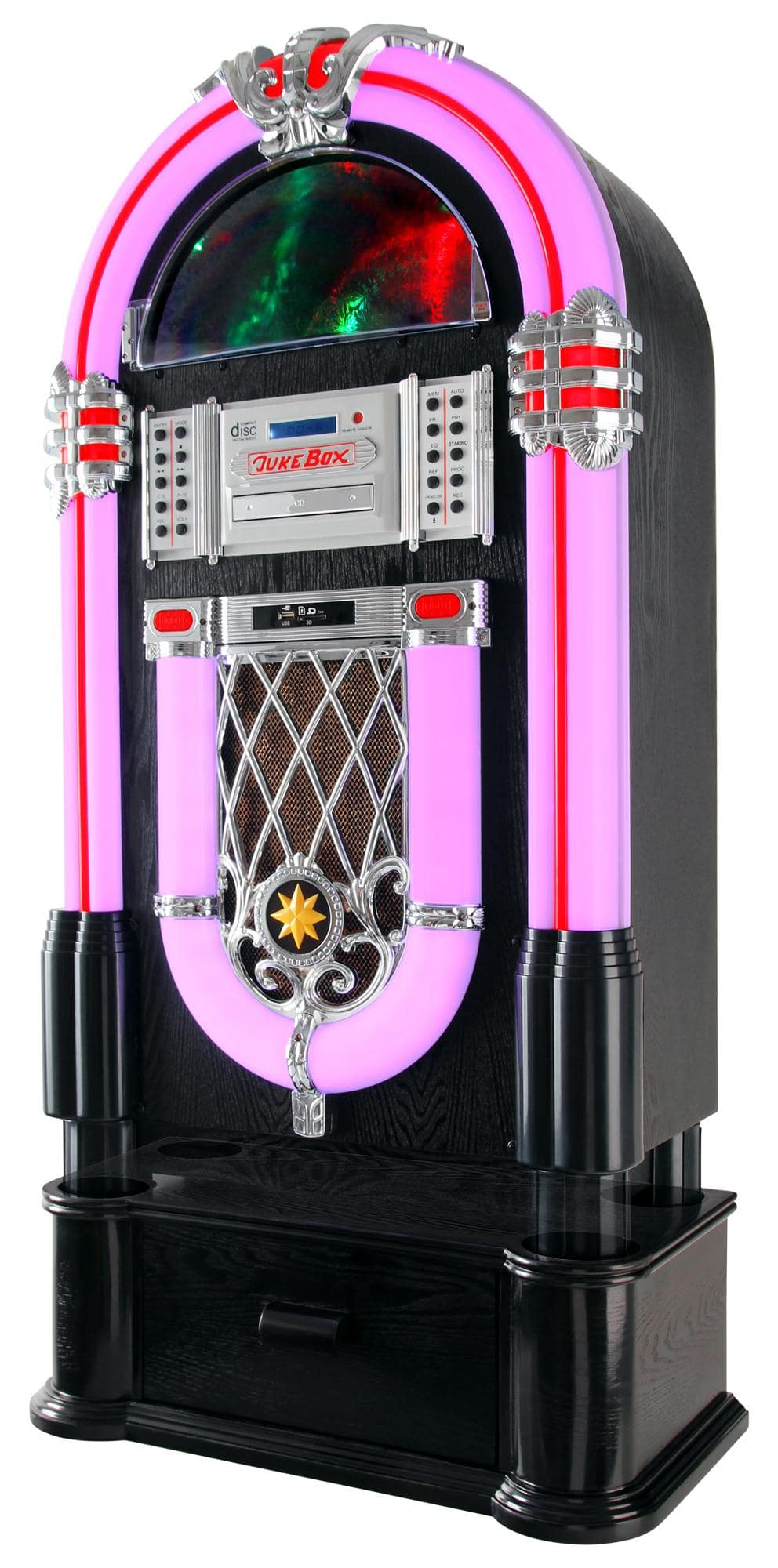Beatfoxx Golden Age 40s 50s Jukebox With Lp Cd Usb Mp3 Player Best Amplifier And Radio Pink
