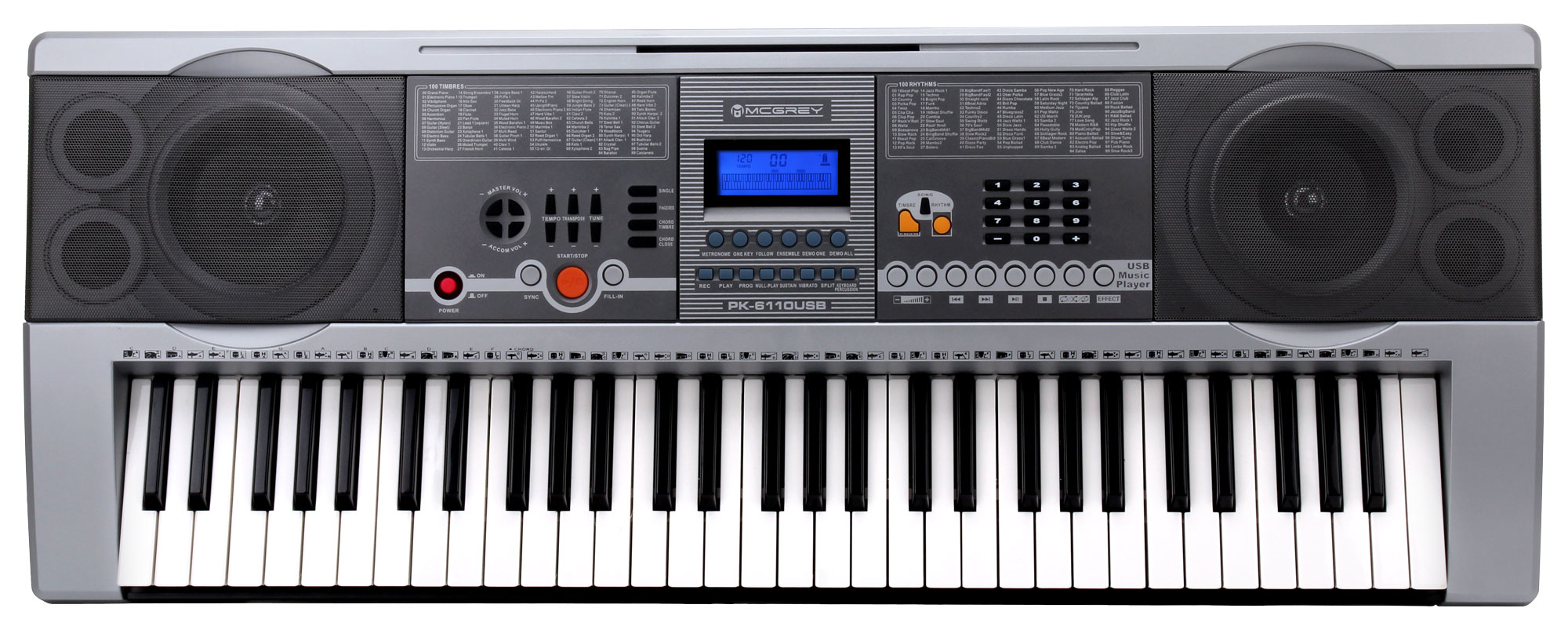 McGrey PK-6110USB Keyboard with 61 Key USB / MP3 Player and Note Stand