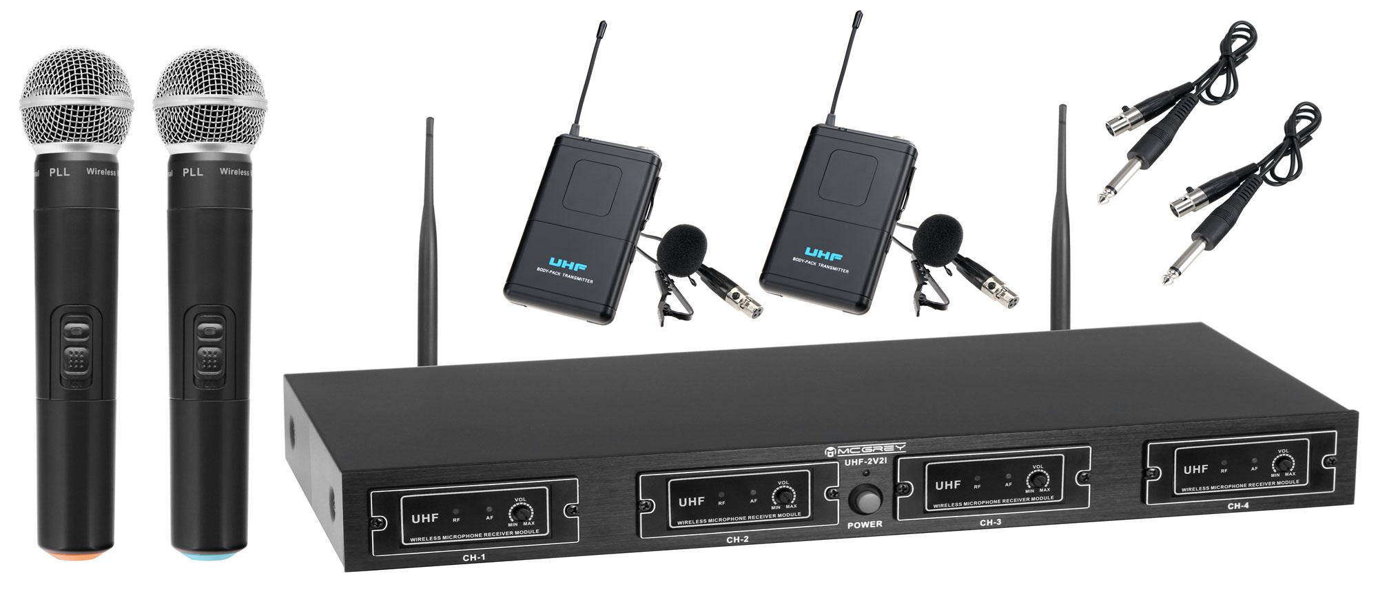 McGrey UHF-2V set radio double voix//instrument avec 2x micro manuels 50 m
