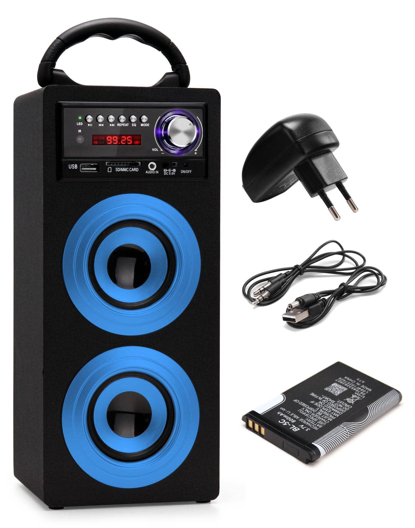 Beatfoxx Beachside Portable Bluetooth Speaker Usb Sd Aux Fm Blue Set Incl Battery Power Cord