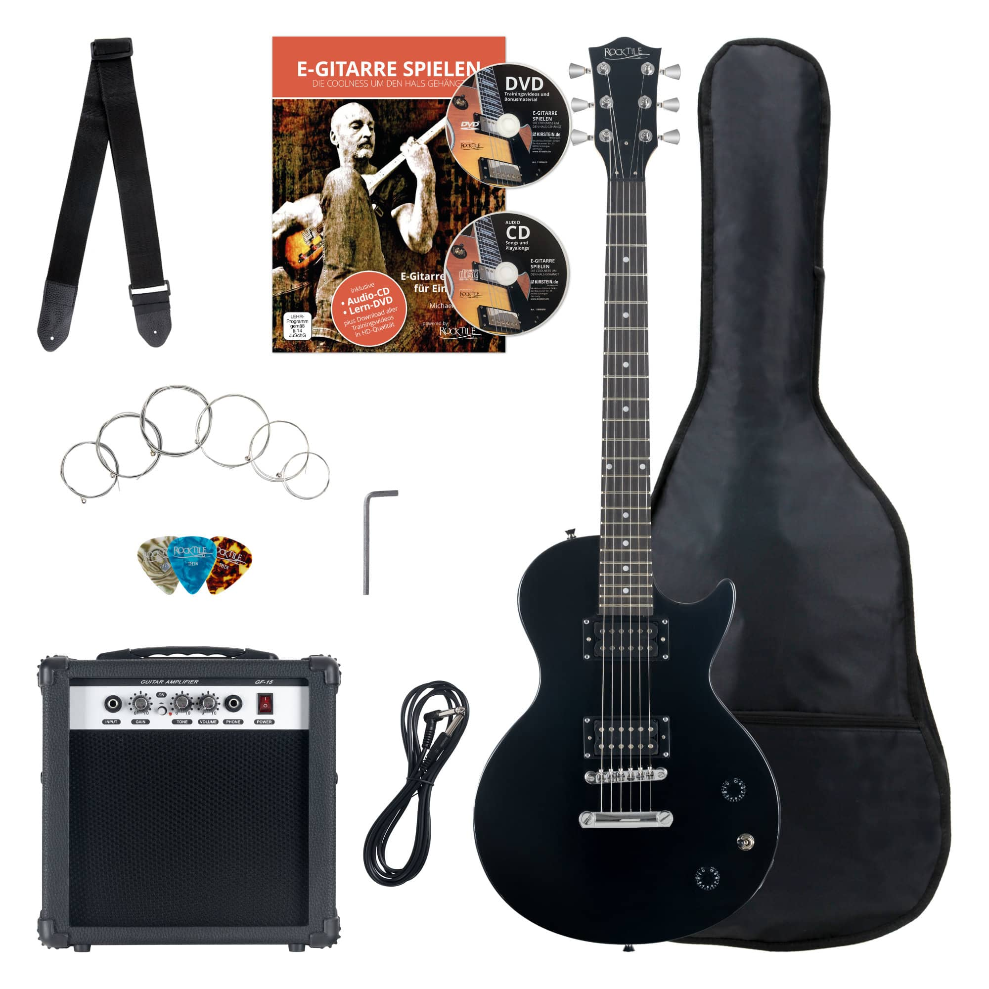 Rocktile Banger's Pack Single Cut Electric Guitar Set, 7-Piece Black