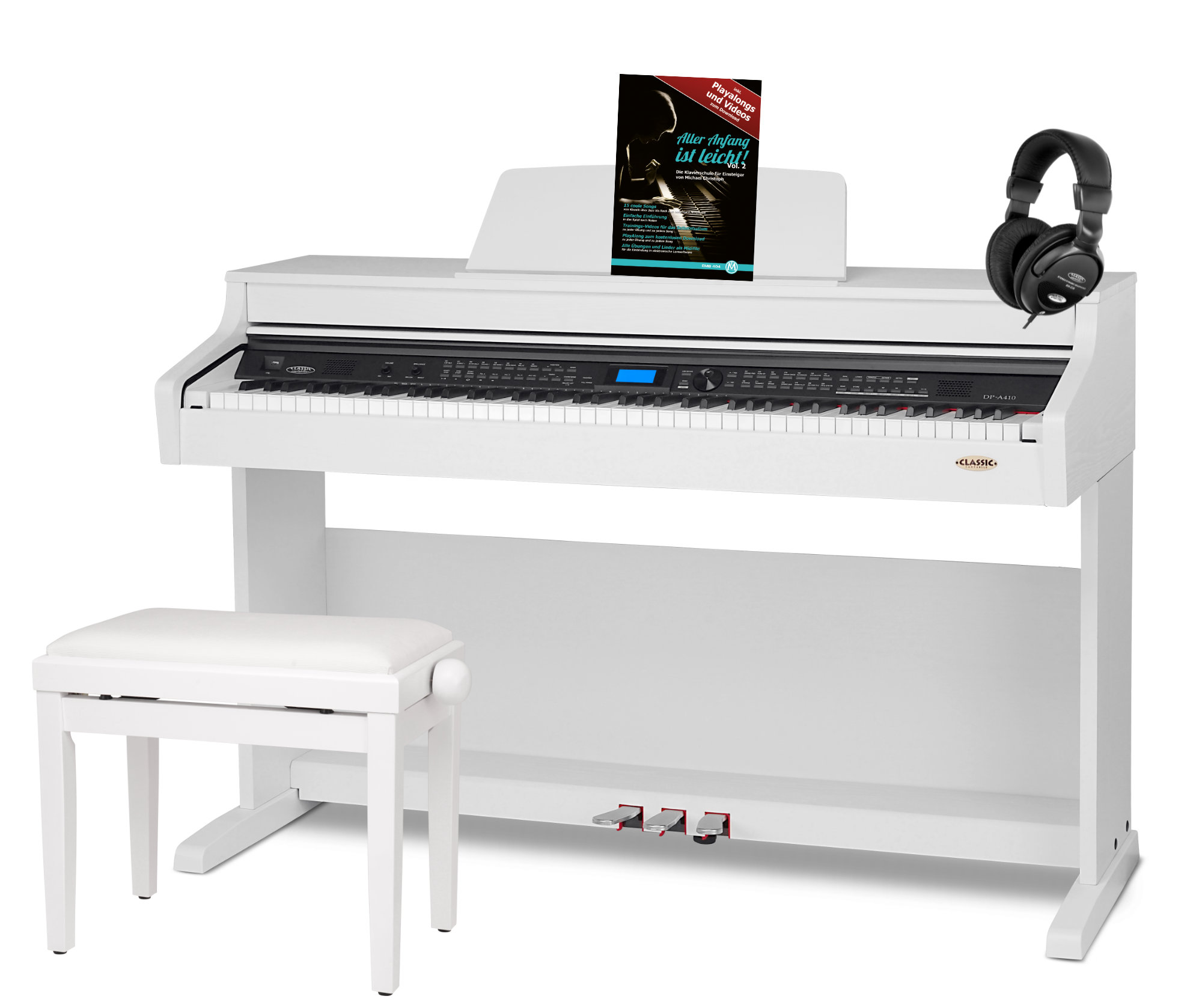 Classic cantabile dp a 410 wm pianoforte digitale set bianco opaco