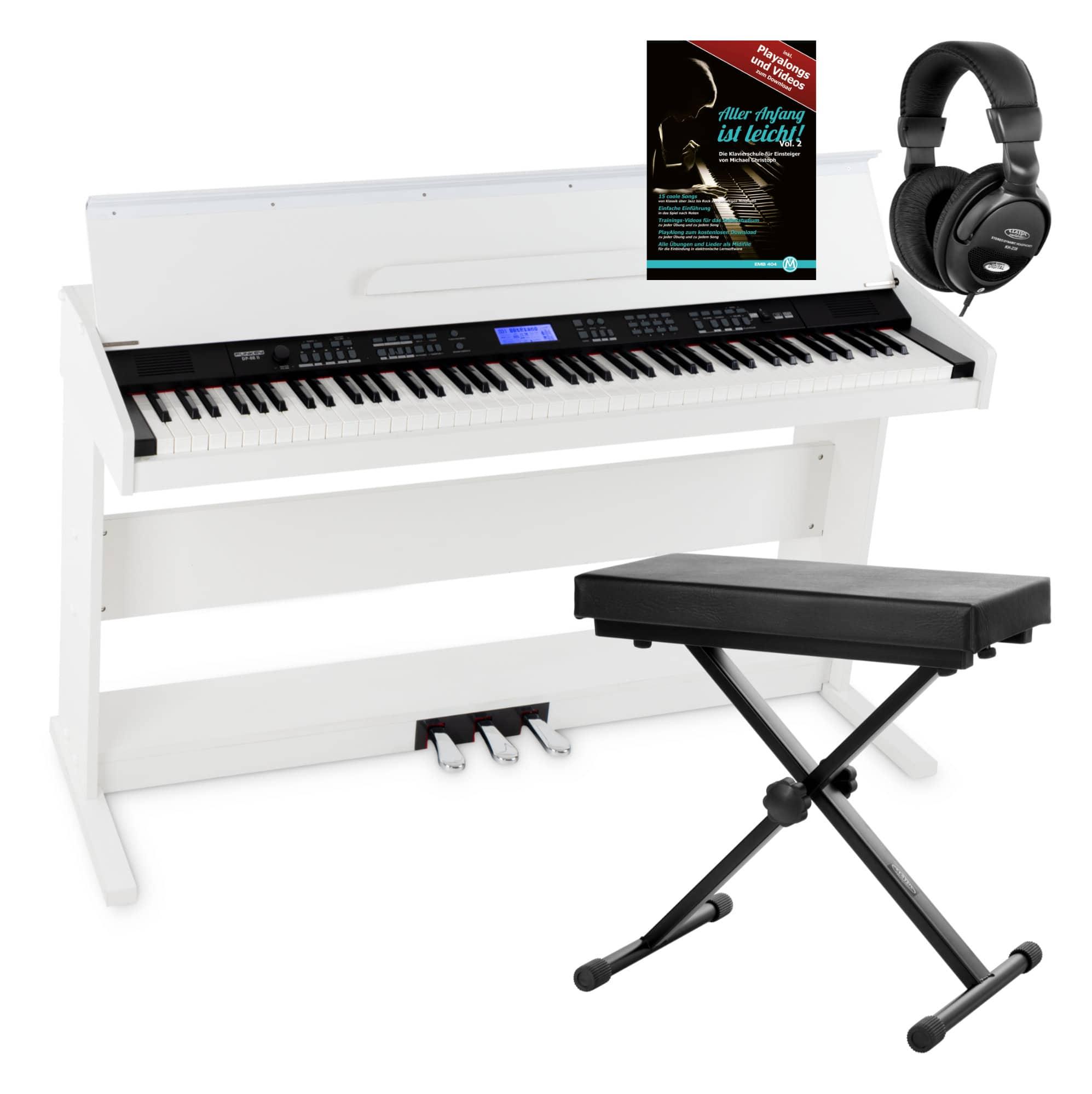 88 Tasten Digital E-Piano Set Klavier Keyboard Kopfhörer Bank Noten Schule Black