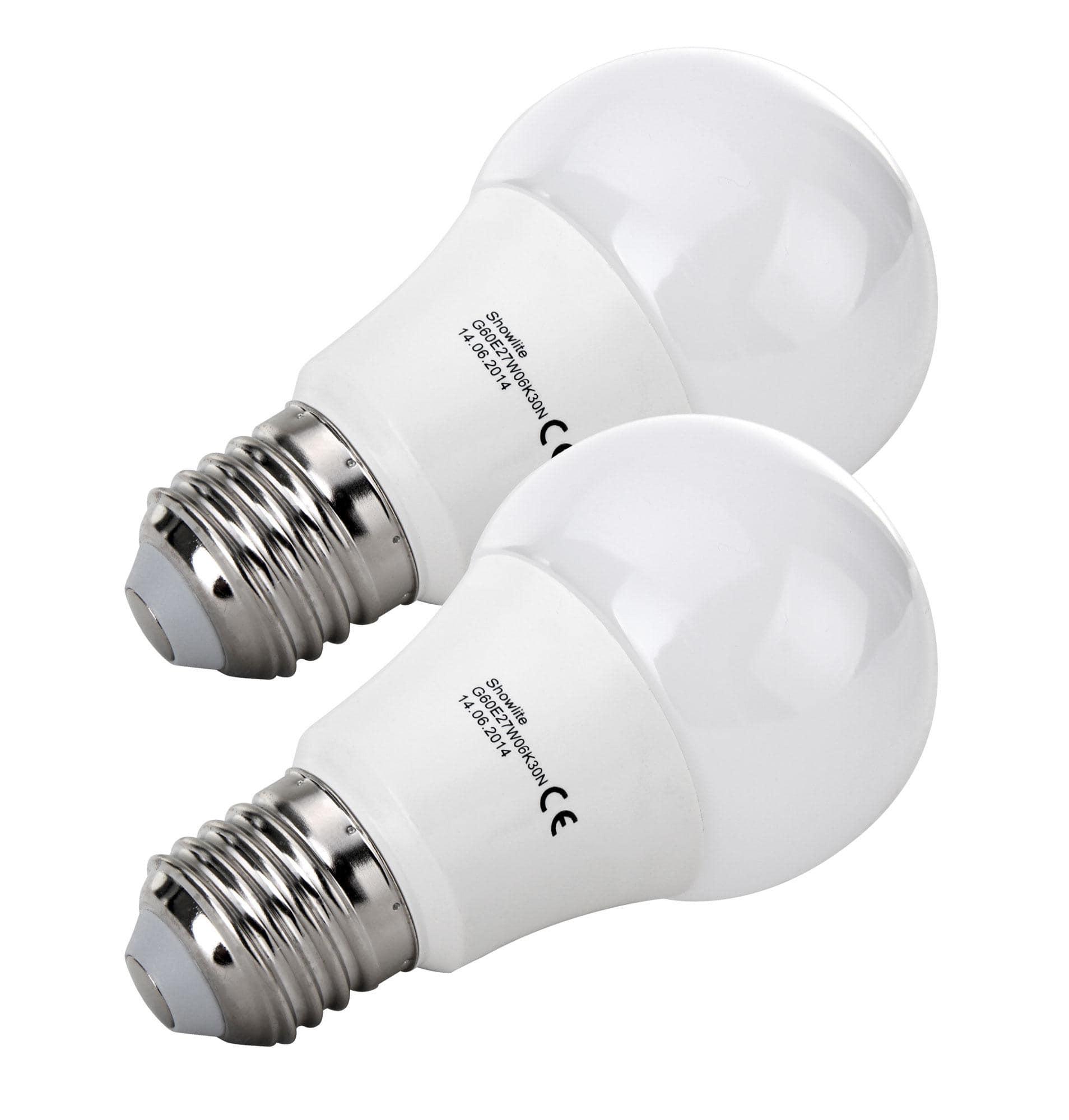 2x SET Showlite LED Birne G60E27W06K30N 6 Watt, 480 Lumen, Sockel ...