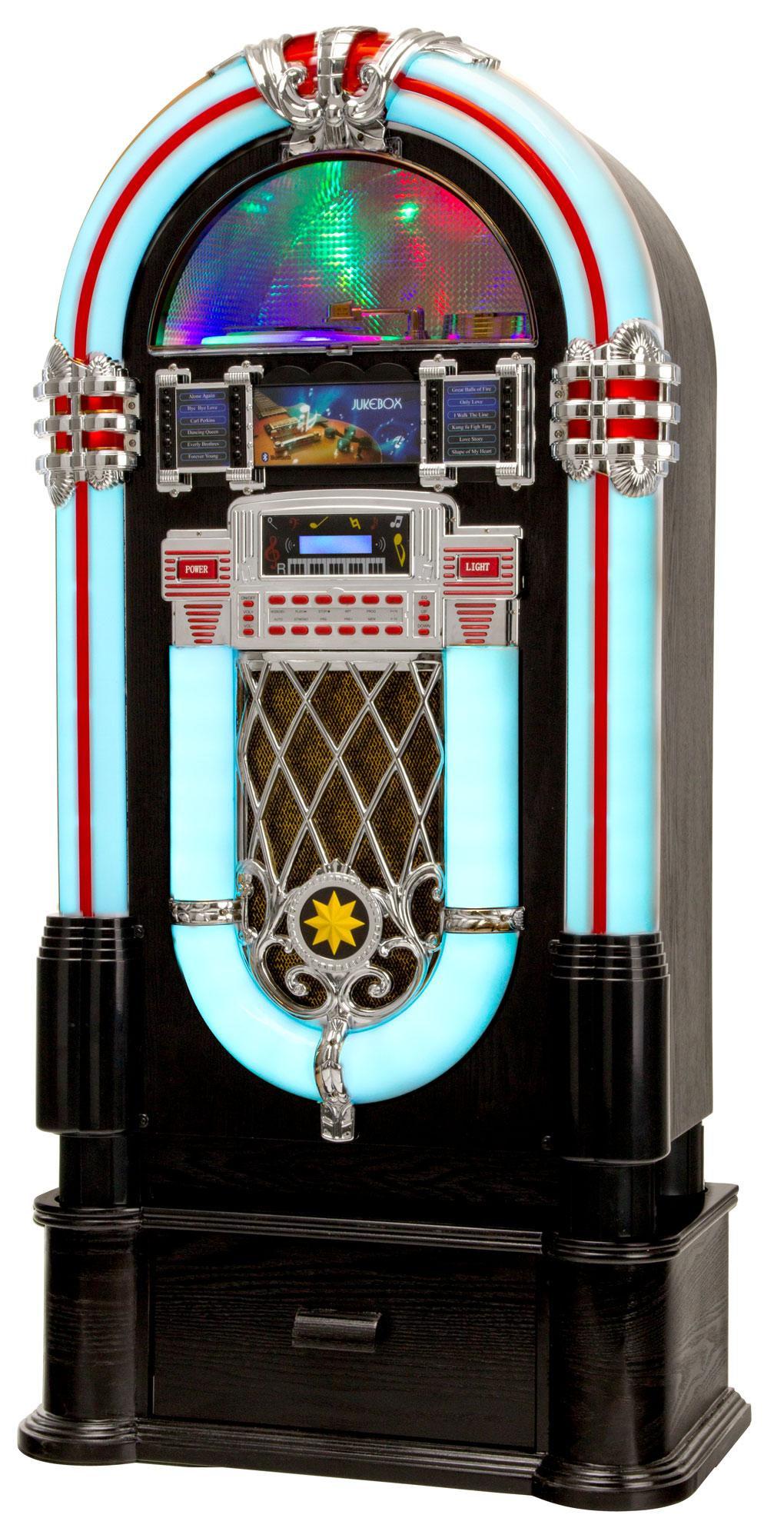 Lacoon Golden Age Jukebox with CD, USB, MP3 player, Radio and Bluetooth SET  incl  Stand Base