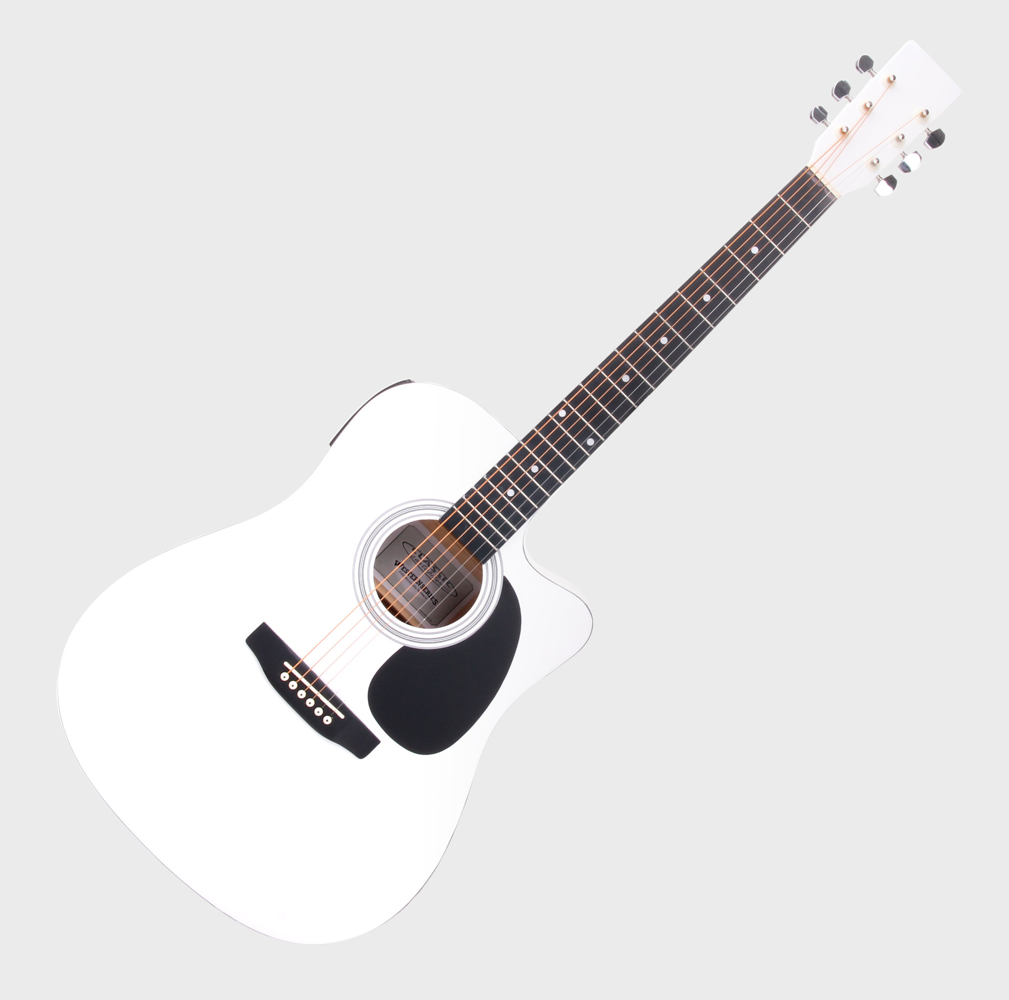 Classic Cantabile WS-10WH-CE Westerngitarre weiß mit Tonabnehmer