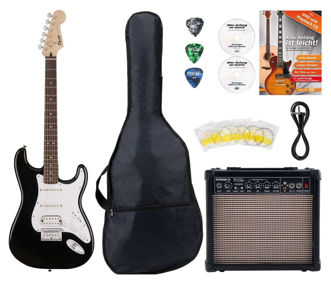 Fender Squier Bullet Strat Hardtail HSS BLK Starter Set inkl. 15 ...