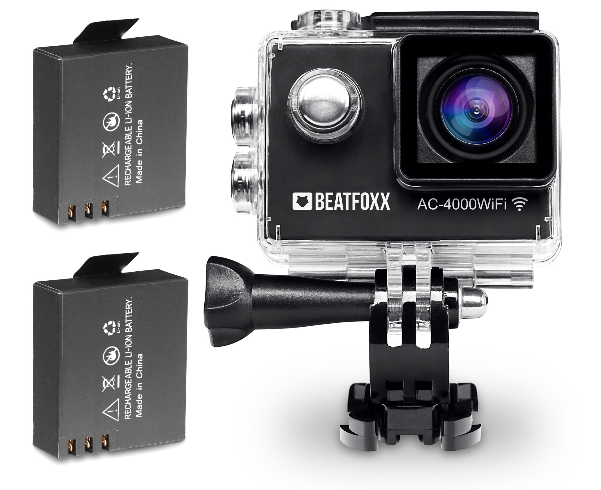 Beatfoxx AC-4000WiFi Action Camera Full HD 12 MP HDMI SD incl  2 Batteries