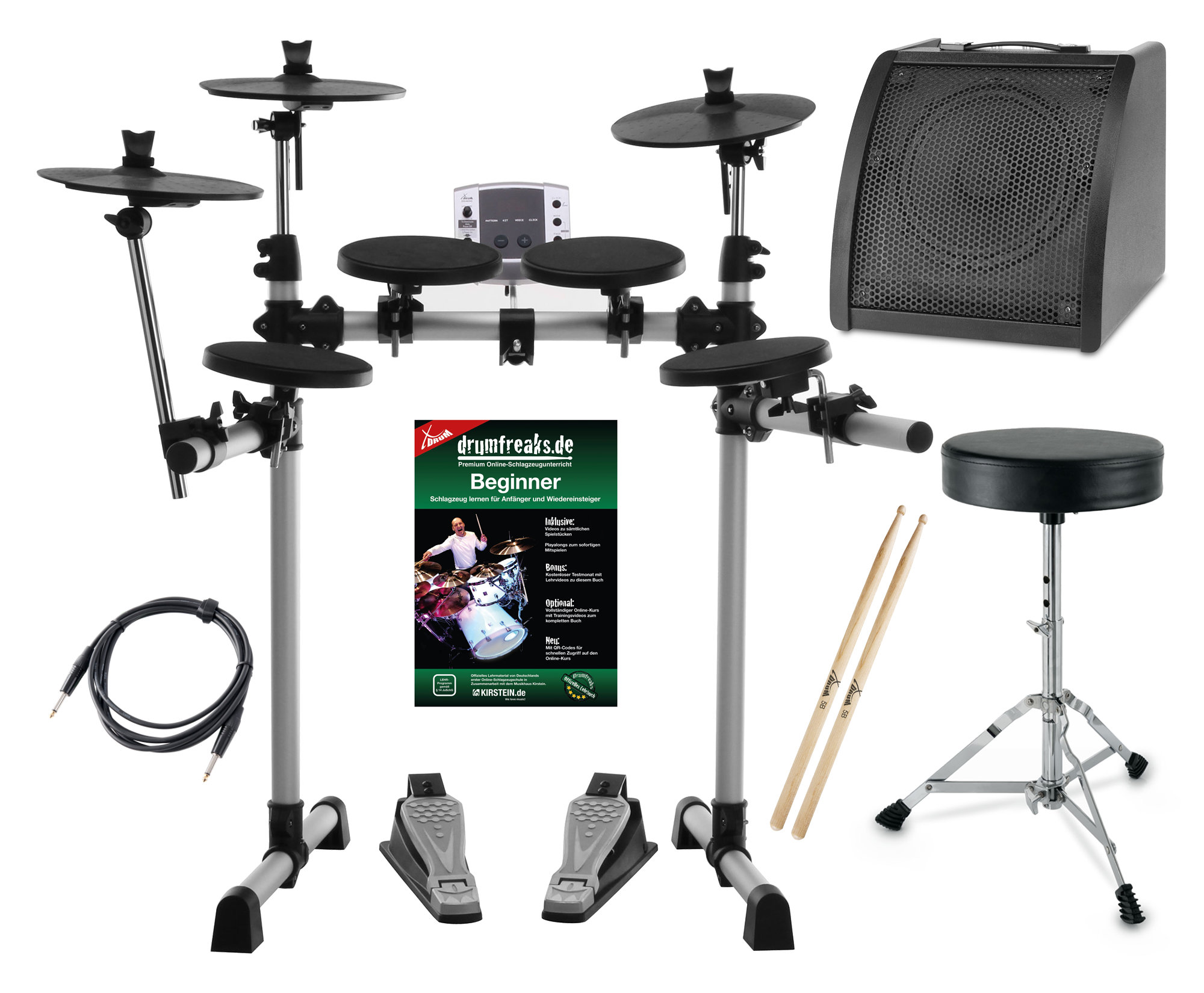 XDrum DD-400 Electronic Drum Set Complete With Cable, Drum Stool and Sticks