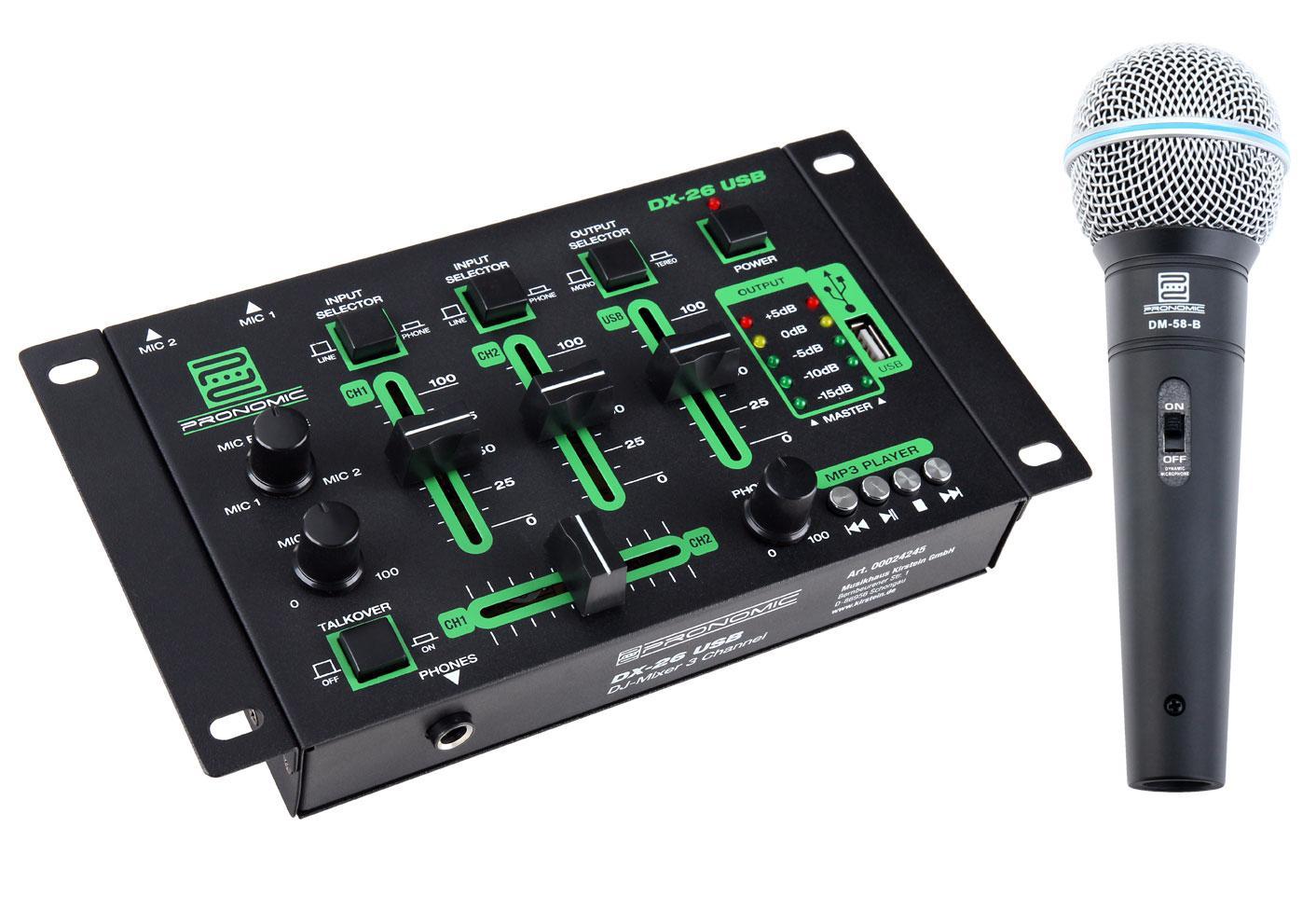 Pronomic DX-26 USB DJ Mixer Microphone + SET including 2 5 m cable
