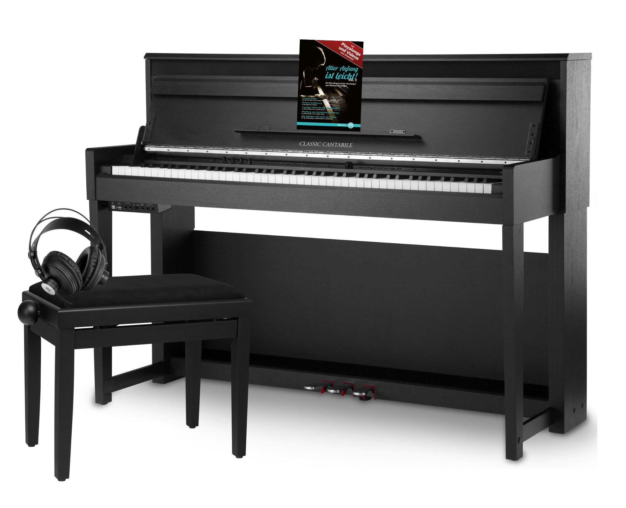 Classic cantabile up 1 sm pianoforte digitale nero opaco set deluxe