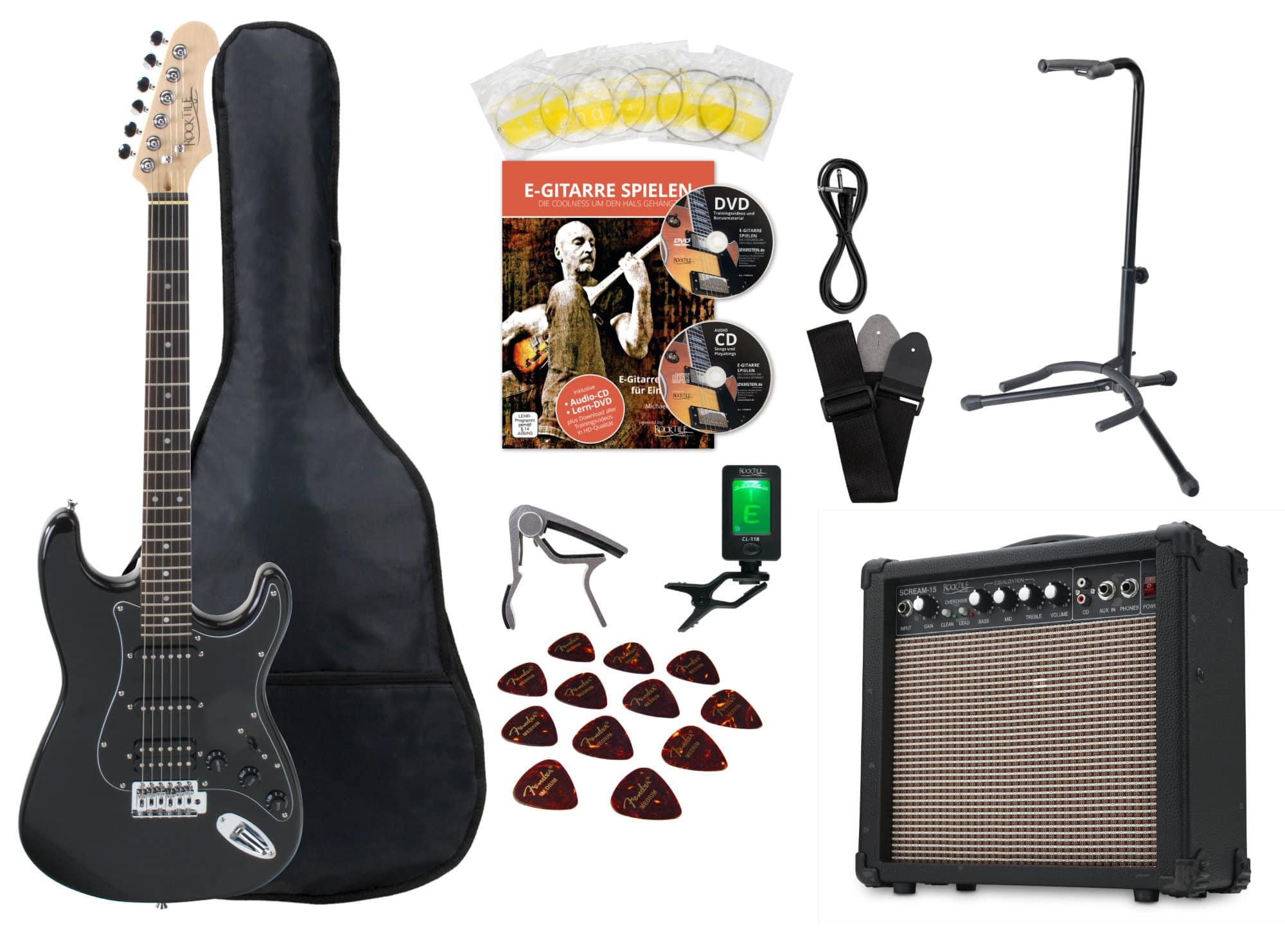 Set 3 Meter Gitarren-Audio-Kabel mit 3 Anschlusskabel für E-Gitarre Amp