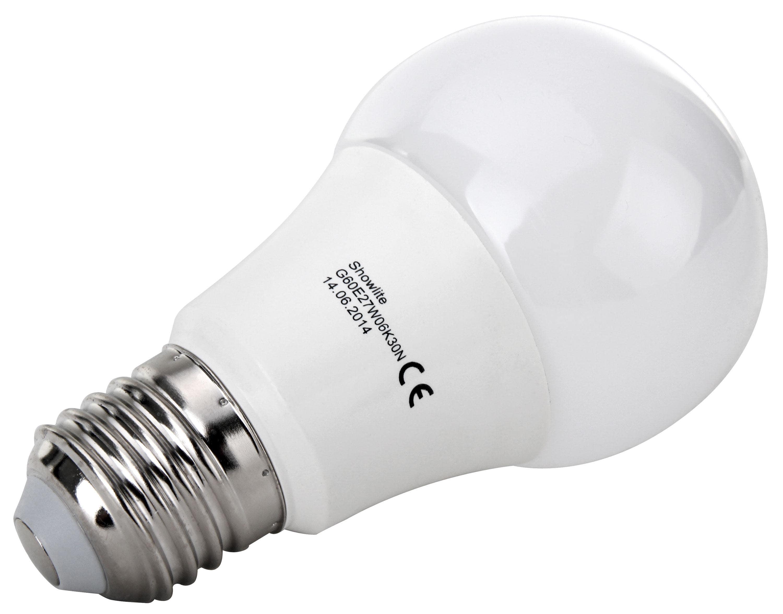 Showlite LED Birne G60E27W06K30N 6 Watt, 480 Lumen, Sockel E27, 3000 ...