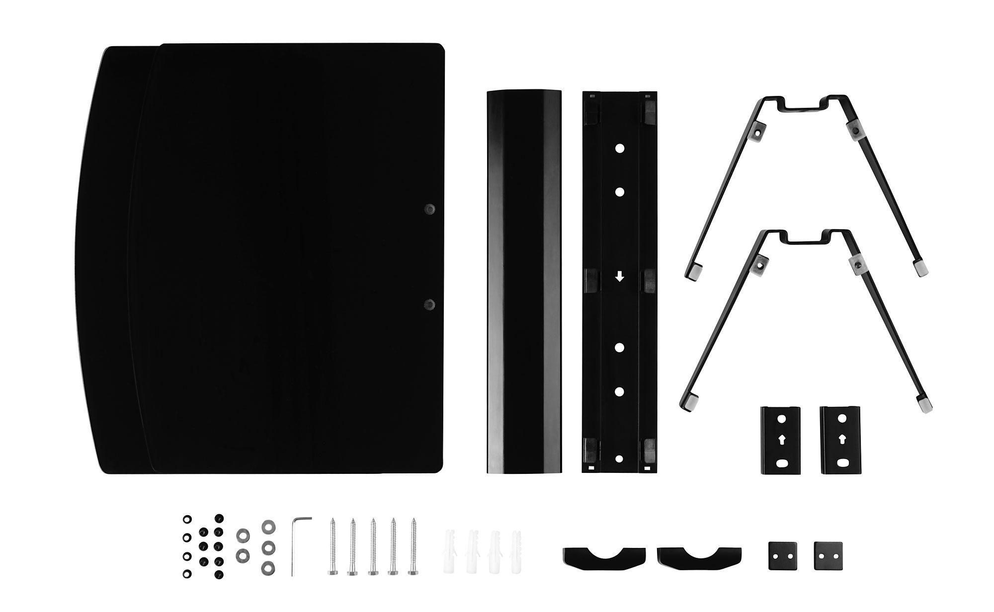 Pronomic DVD-450B DVD Hifi Multimedia Glas Wandregal, schwarz