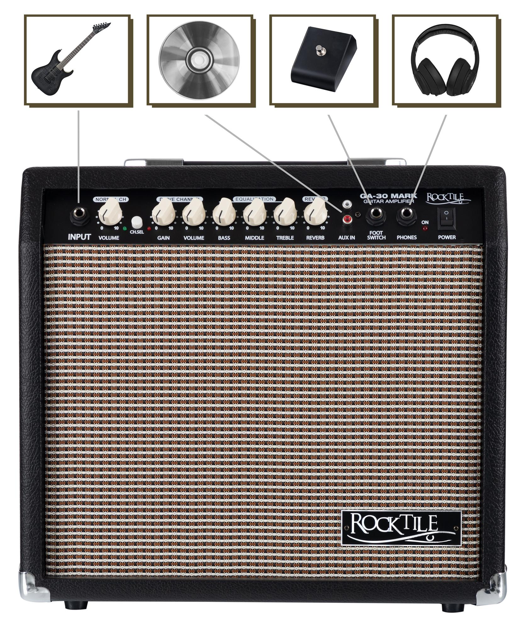 Rocktile GA-30 Verstärker Gitarre Gitarrenverstärker Amp Combo Verzerrer Reverb