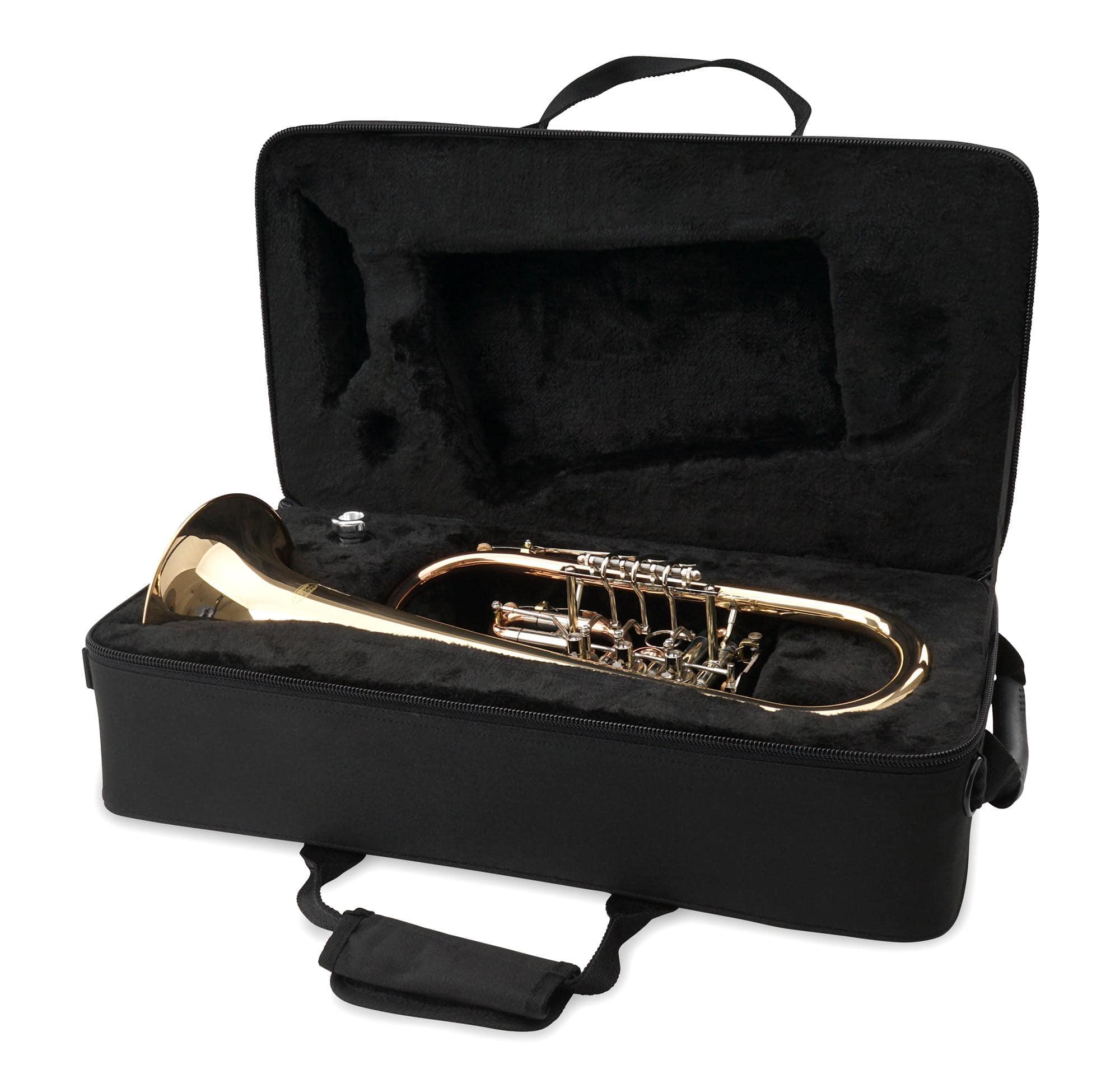 Blasinstrumente Rucksackkoffer Wunderschönes Flügelhorn mit Schallstück aus Goldmessing inkl