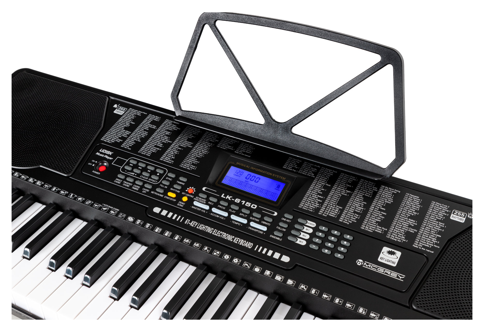 61 Leucht Tasten Keyboard E-Piano Keyboardschule 255 Sounds /& Rhythmen USB MP3