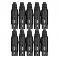 Pronomic connector set XLR male 10 pcs black