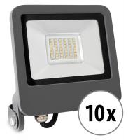 10x Showlite FL-4030 NW LED Fluter IP65 30 Watt 2400 Lumen neutral-weiß Set