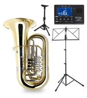 Classic Cantabile BRASS T-190 4/4 Bb Tuba Lot incl. Métronome, Embouchure Pupitre Notes, Stand Tubas